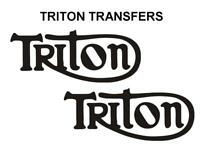 Triton Tank Transfers Decals Triumph Norton Motorcycle Sold as a Pair Black T4