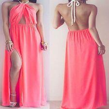 Unbranded Halterneck Patternless Maxi Dresses for Women