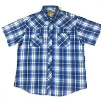 Wrangler Western Fashion Mens Pearl Snap Shirt Short Sleeve Plaid Size XL EUC