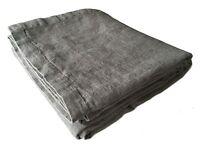 """XXXL Bettüberwurf Plaid Decke """"Rasa"""" 100% Leinen 250 x 280 cm grau """"Stonewashed"""""""