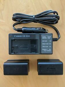 Genuine CANON CB-900 Car Battery Charger/Power Supply & (2) OEM Batteries!