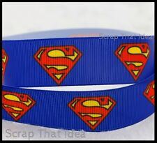 "Superman RIBBON. 5/8"" Printed Grosgrain. Scrapbooking/Craft. Superhero. DRK BLUE"