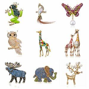 Fashion Animal Owl Butterfly Elephant Pearl Crystal Brooch Pin Women Men Jewelry