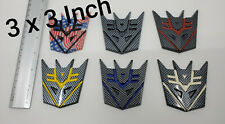 6 Colors 3D Decepticon Transformers Emblem Badge Decal Car Stickers 3 INCH