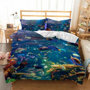 Marine Ocean Fish Quilt Duvet Doona Cover Set Single Double Size Kids Bedding