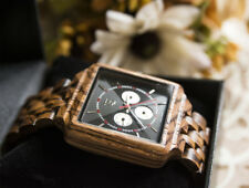 UD Multi-Function Square Zerba wood watch for Men