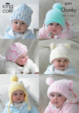 King Cole Chunky Knitting Pattern Baby Hats Slouchy Beanie Beret Helmet 3391