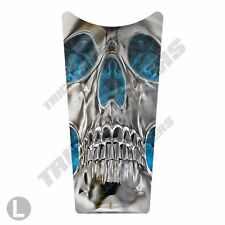Gas Tank Dash Console Insert Decal for 87-07 Harley Touring SKULL BLUE FLAME INV