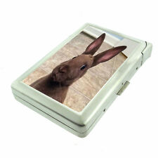 Funny Face Animals D4 Cigarette Case with Built in Lighter Metal Wallet Rabbit