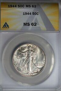 1944  .50   ANACS  MS 62  Walking Liberty, Half Dollar, Lady Liberty Half