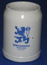 German Bier Stein Lowenbrau Munchen Seit 1383 Pottery Beer Mug 0.5 liters