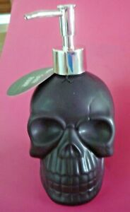 HALLOWEEN HAND SOAP DISPENSER SKELETON SKULL BLACK NEW