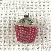 Early 20th Century Bumpy Glass Xmas Ornament Pink Painted Flower Basket