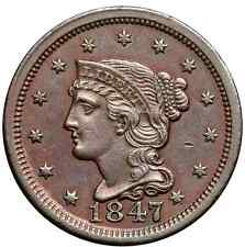 1847 N-22 R-3+ E-MDS Braided Hair Large Cent Coin 1c