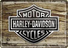 Harley Davidson Wood look metal postcard / mini-sign  (na)