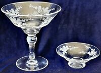 Stuart Crystal Footed Comport and Shallow Bowl Glass Etched Birds on twigs STU46