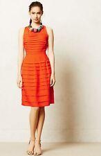 Anthropologie Eva Franco Tangelo Dress Pleats Knee Length Orange 2 $188 EUC