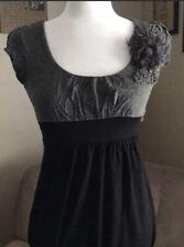 Poetry Women's M Cap Sleeve Rayon Blend Black/Gray Tunic Left Shoulder Decor