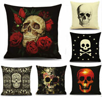 Ghost Skull Floral Throw Pillow Case Throw Cushion Cover Office Home Decor 18''