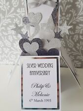 Handmade  Personalised 25th Silver Wedding Anniversary Pop Up  Card