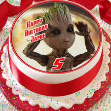 GROOT -  AVENGERS BIRTHDAY PERSONALISED 7.5 INCH EDIBLE CAKE TOPPER B-009G