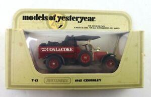 Vintage 1978 Matchbox Models of Yesteryear Y13 1918 Crossley Coal & Coke Diecast