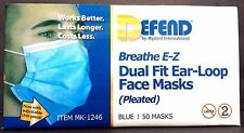 DEFEND BREATHE E-Z DUAL FIT EAR-LOOP FACE MASKS PLEATED MK-1246 BLUE 50 MASKS