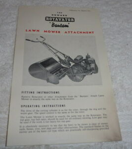 Original vintage The Howard Bantam by Rotary Hoes sales sheet  Lawn Mow attachme