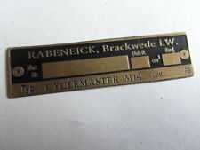 placa identificadora placa Placa de latón Rabeneick Cyclemaster M14 M 14 S6
