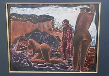 Three Black Nudes Near Rocks & Water-Mixed Media Painting-1958-August Mosca
