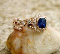 2Ct Cushion Cut Blue Sapphire Vintage Halo Engagement Ring 14K Rose Gold Finish