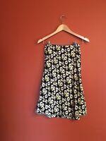 Vtg Y2k Rayon Daisy Floral Bias Cut Midi Velvet Trim Skirt