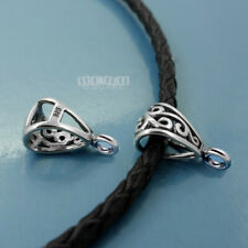 2 Sterling Silver Antiqued Scroll Pendant Bail Connector w/Open Loop 16mm #33474