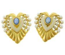 "Elizabeth Taylor For Avon Signed Vintage Heart Of Hollywood Earrings Enamel 1.5"""