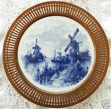Antique Blue Delft Plate German Reticulated Copper Edge Windmills Fields White