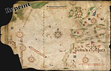Wall Art of a  Old World Nautical Map of Portuguese  Year 1504c 11x17