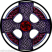 Stained glass window art static cling decoration celtic cross in mauve