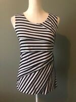 Verve Ami Womens Tank Top Size S Black White Striped Scoop Neck Tiered Layers