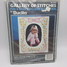 Daisy Picture Frame Bucilla Embroidery Glass Beads Craft Kit 8x10 Stamped Muslin
