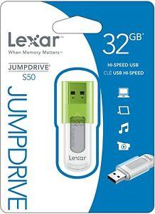 Clé USB 2.0 32 Go Vert Lexar JumpDrive S50 Flash Drive