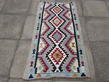 Kilim Old Traditional Hand Made Persian Oriental Kilim White Red Wool 160x87cm