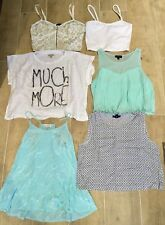 Bundle 6x Womens Tops Zara Topshop Gap Forever 21 Witchery White Blue Small UK