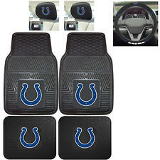 7pc NFL Indianapolis Colts Heavy Duty Rubber Floor Mats & Steering Wheel Cover