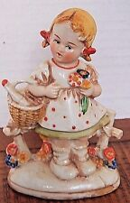 """Antique Fairing Porcelain Girl with Flowers Figurine Marked """"Germany 20469"""""""