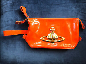 Vivienne Westwood Autheric Orange Patent Leather Clutch Bag Gold Orb Pouch RARE!