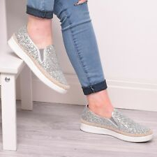 cab6496f7b Ladies Girls Glitter Trainers Pumps Sneakers Summer Slip On Fashion Shoes  Size