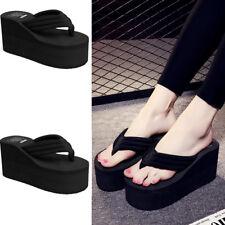 Women Thick High Heel Platform Sandals Flip Flops Wedges Slippers Beach Shoes