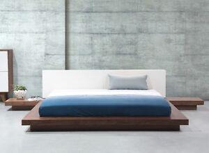 Designer Bed Japan With Slatted Frame Japanese Solid Flat Japanbett Braun