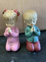 """Vintage Praying Boy And Girl Ceramic Figurines 6"""" Tall Norleans Japan"""