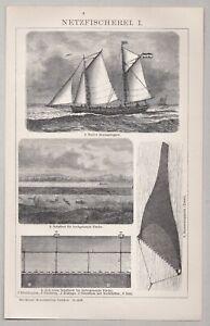 Fischerei, Netzfischerei, Emden - Emder Heringslogger - Stich, Holzstich 1902